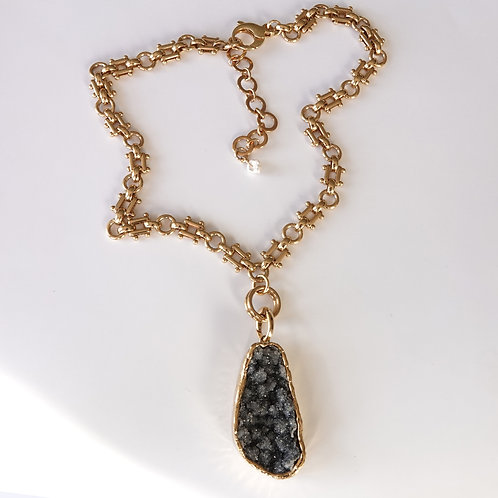 Black Amethyst Gold Necklace One-of-a-Kind