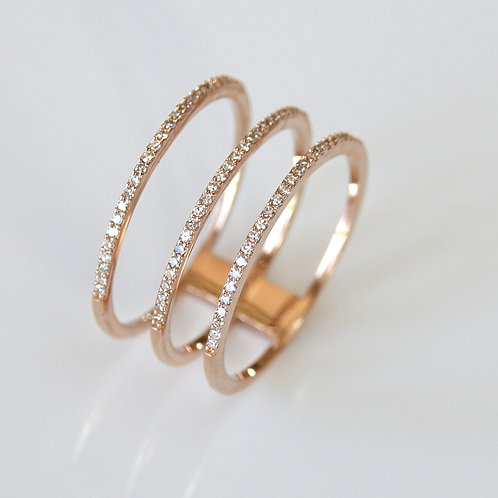 Diamond Pave Rose Gold Band Ring 14K