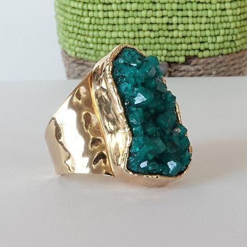 Green Crystal Dioptase Gold Ring Adjustable