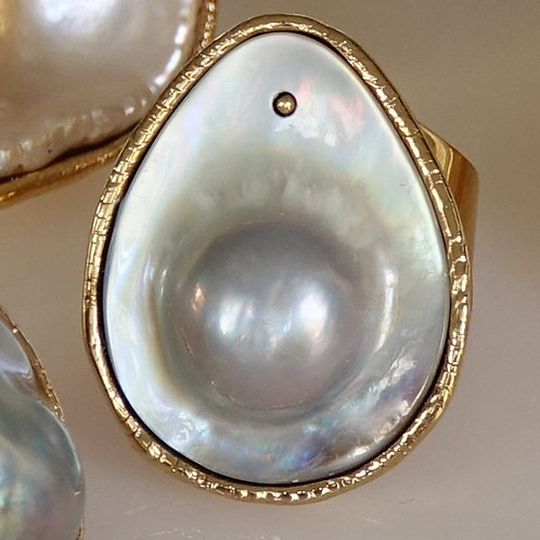 Lustrous Blister Pearl Statement Ring