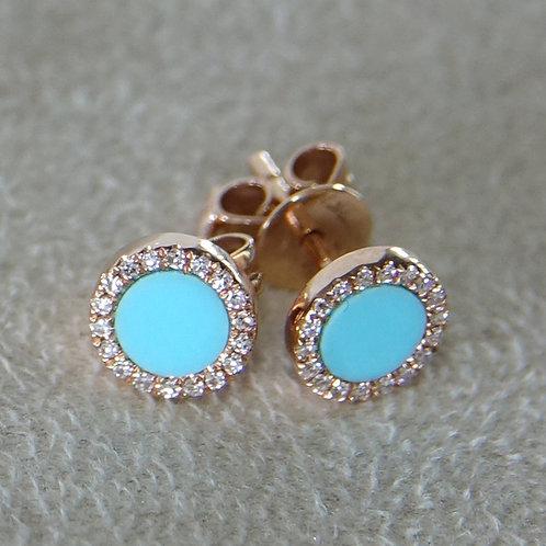 14K Turquoise Diamond Stud Earring