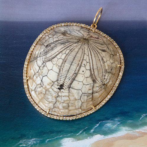 Fossilized Sea Urchin Pave Diamond Pendant One-of-a-Kind