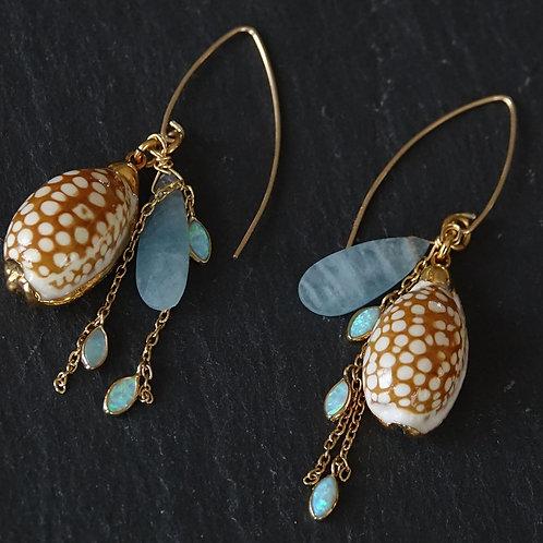 24k Gold Plated Shell, Aqua Marine and Opal Earrings