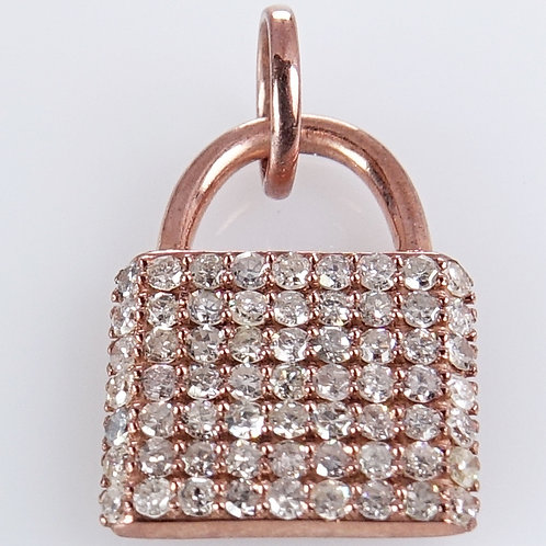 14K Rose Gold Diamond Lock Charm