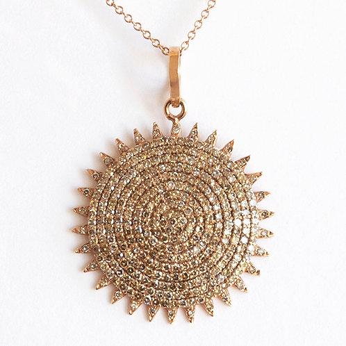 Diamond Sun Disk Pendant Necklace
