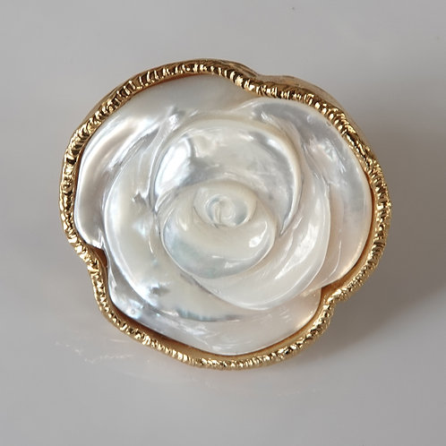 White Rose Carved Gold Ring