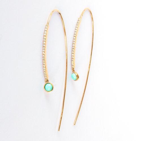Open Hook Turquoise Earrings 14K