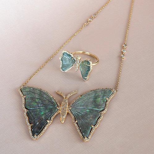 Butterfly Necklace Opal Diamond 14K One-of-a-Kind