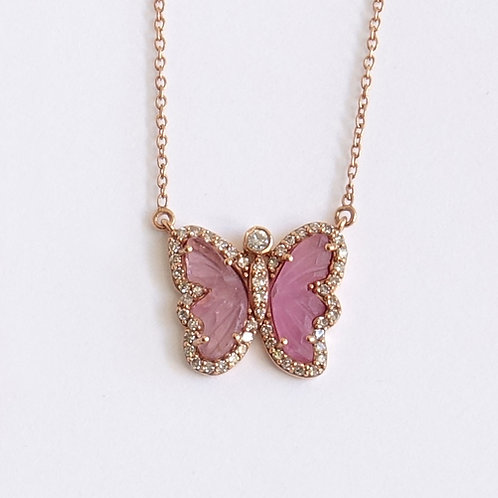Diamond Pink Butterfly Turmaline Rose Gold