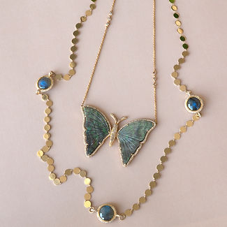 Butterfly Gold Diamond Necklace Opal One of a Kind