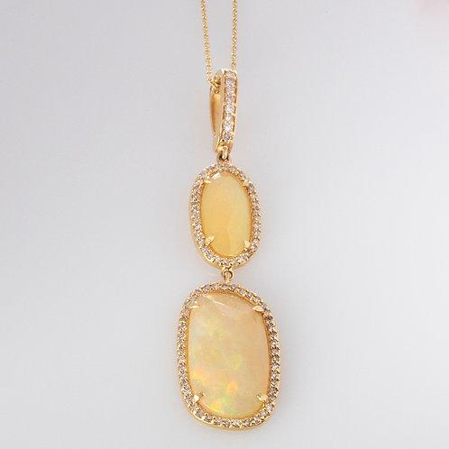 Opal Diamond Necklace 14K