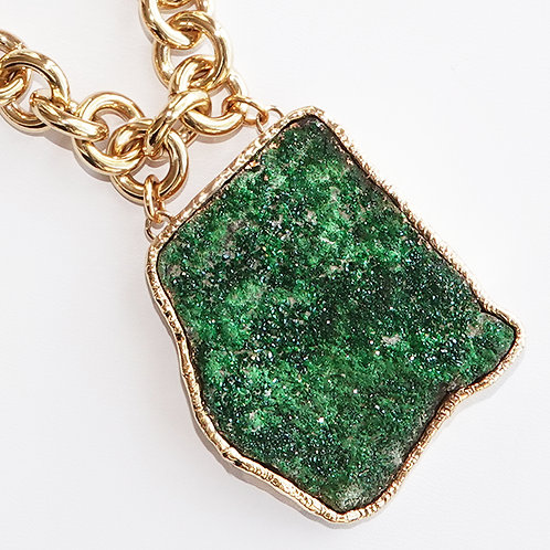 Uvorovite Green Drusy Crystal Gemstone Gold Necklace One of Kind