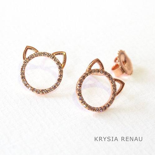14K Rose Gold Cat Stud Earrings
