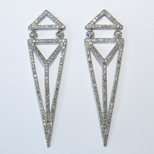 Diamond  Art Deco 18K Gold Earrings
