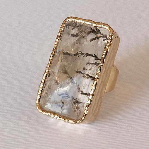 Quartz Gold Ring Adjustable Dendrite One of a Kind
