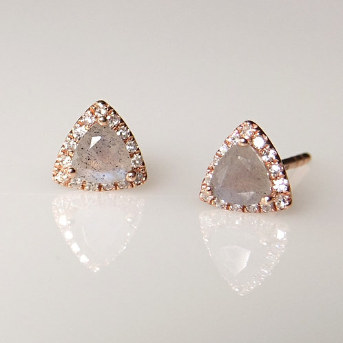 14K Labradorite Diamond Triangle Post Earrings