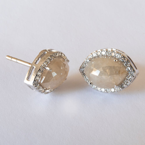 Champagne Brilliant Cut Diamond Earrings 18K White Gold
