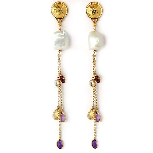 Cascading Topaz with Pearl Earrings