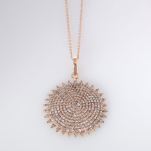 Diamond Pave Sun Disk Pendant Necklace