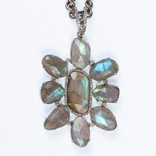 Labradorite Diamond Pendant Necklace