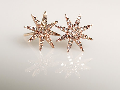 14K Rose Gold Starburst Stud Earrings