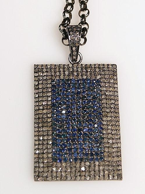 Sapphire Diamond Dog Tag Necklace