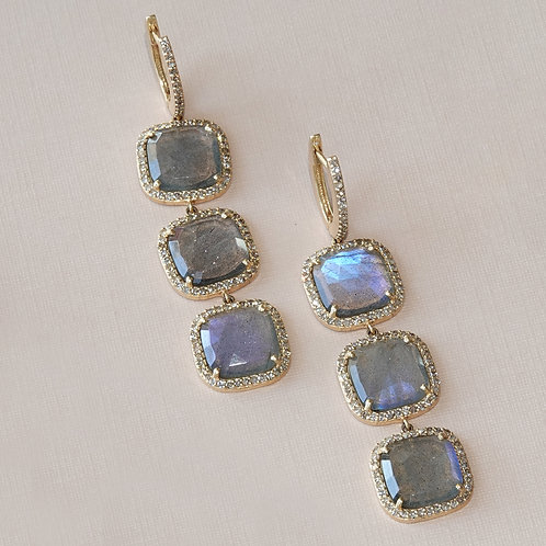 Gold Diamond Labradorite Earrings Posts