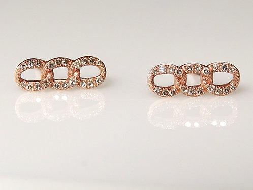 14K Chain Link Diamond Stud Earrings