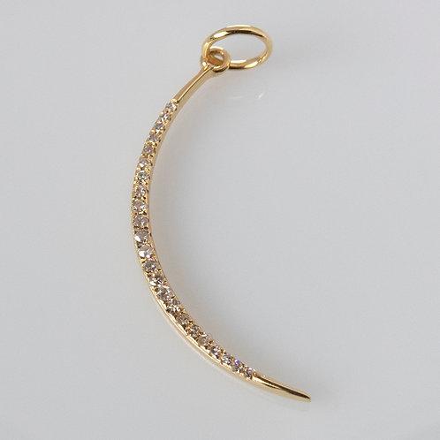 14K Gold Diamond Thin Moon Charm