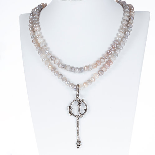 Diamond Key Mystic Moonstone Necklace