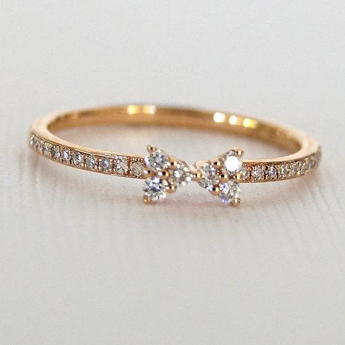 Diamond Bow Ring 14K Rose Gold
