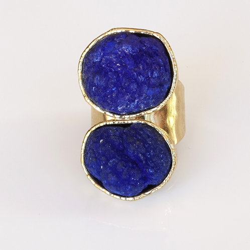Natural Azurite Double Stone Gold Ring
