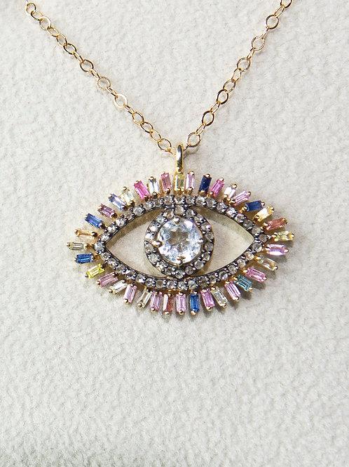 14K Evil Eye Multi Colored Topaz Necklace