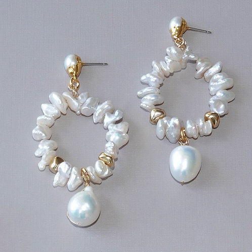 Pearl Hoop Gold Earrings Posts