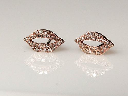 14K Rose Gold Diamond Lips Stud Earrings