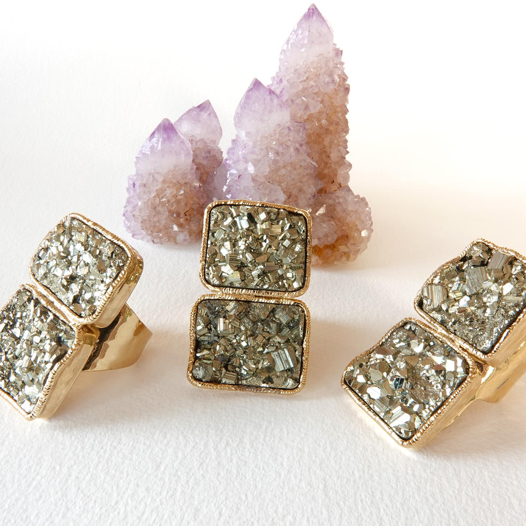 Pyrite Double Stone Gold Rings