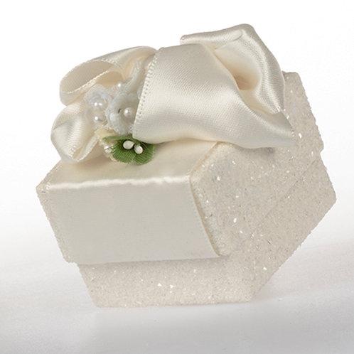 White Glitter Satin Ring Gift Box