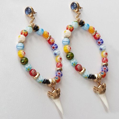 Multi Color Gold Hoop Post Earrings