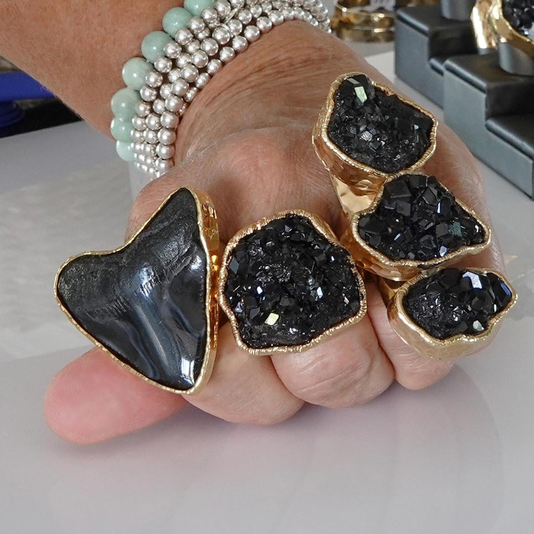 Black Fosillized Shark Tooth Ring, Natural Black Garnet Rings