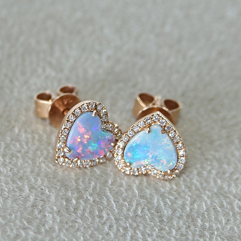 14K Rose Gold Diamond Australian Opal Earrings