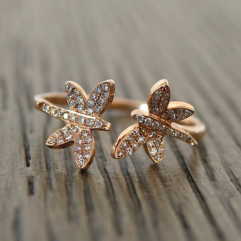 14K Rose Gold Double Butterfly Ring