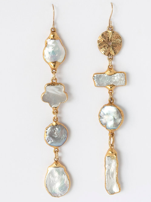 Assymetrical Pearl Gold Earrings