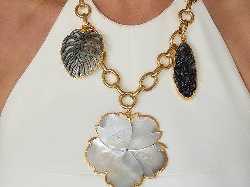 Floral Leaf Gemstone Gold Necklace