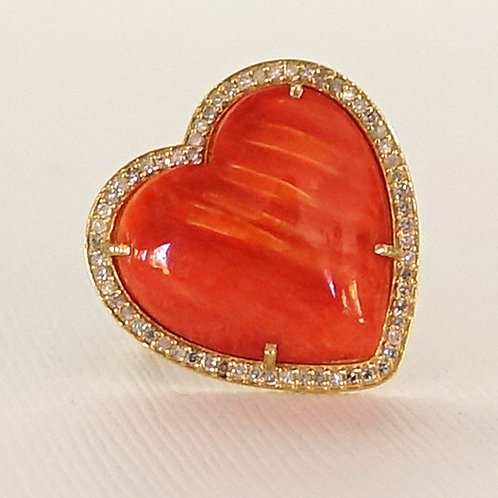 Red Spiny Oyster Shell Diamond Ring