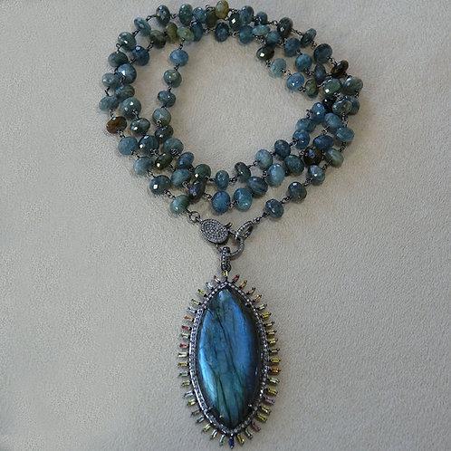 Labradorite Diamond Sapphire Necklace