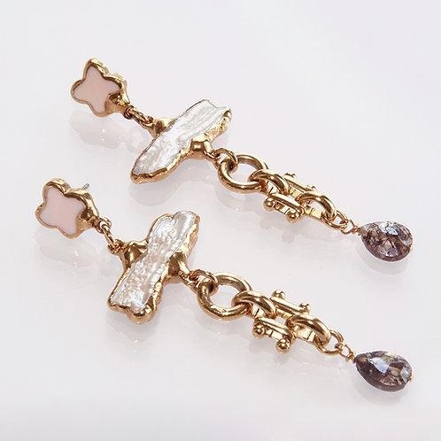 Pearl Gemstone Drop Long Gold Earrings Posts