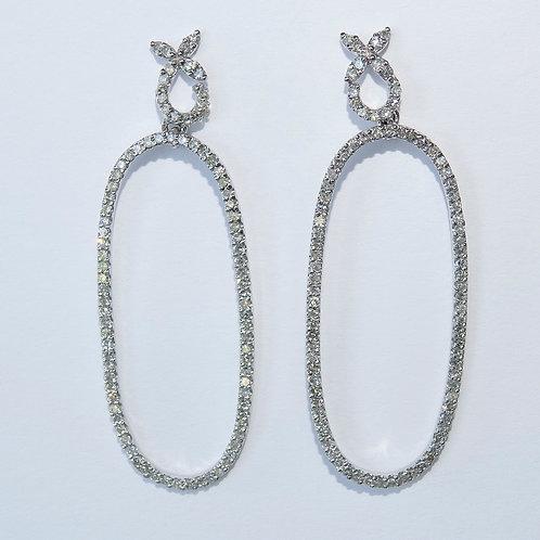 Diamond Hoop 18K White Gold Earrings