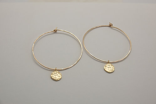 Large hoop with gold disk earring
