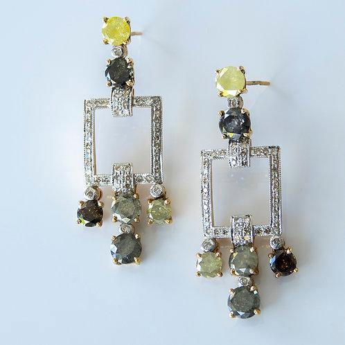 Raw Multi Colored Diamond Earrings 14K Gold
