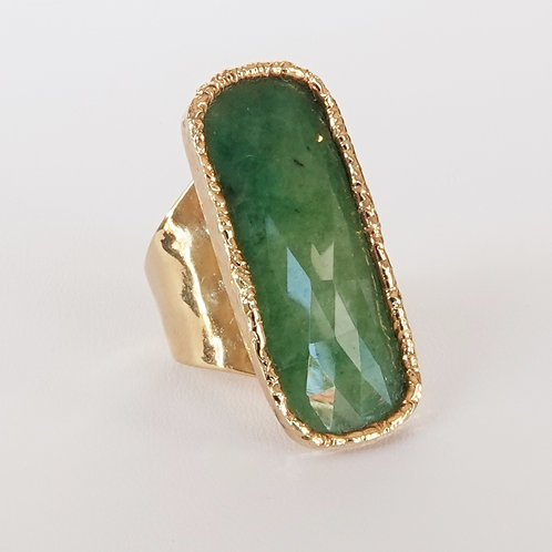 Emerald Green Gold Ring